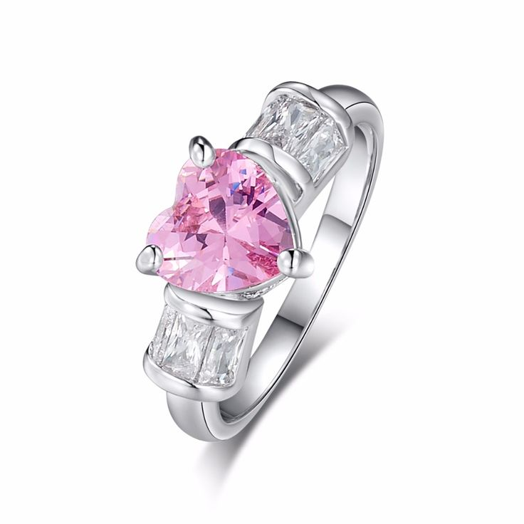 Valentines Gift Silver Color AAAA Pink Cubic Zircon Ring Promise Love Heart Design Lover Fine Jewelry Wedding Rings Size 6 7 8 9