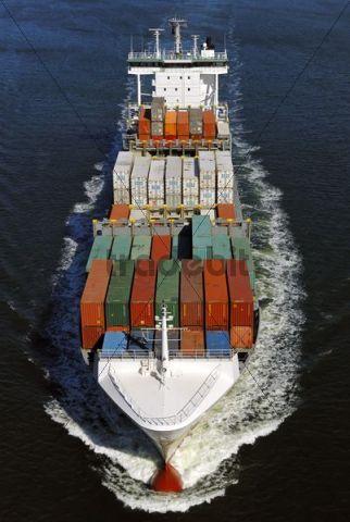 Container ship on the Kiel Canal Kiel Schleswig-Holstein Germany Europe