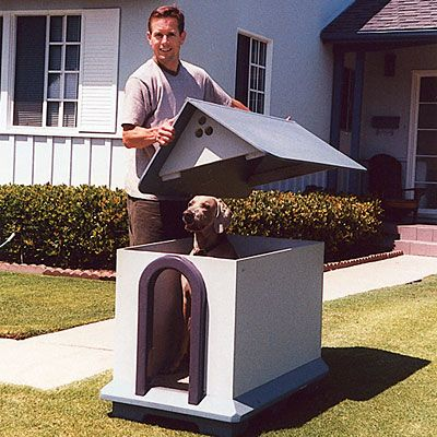 I definitely want to make a dog house where the top lifts off ... but it would be way more fancy/cute than this