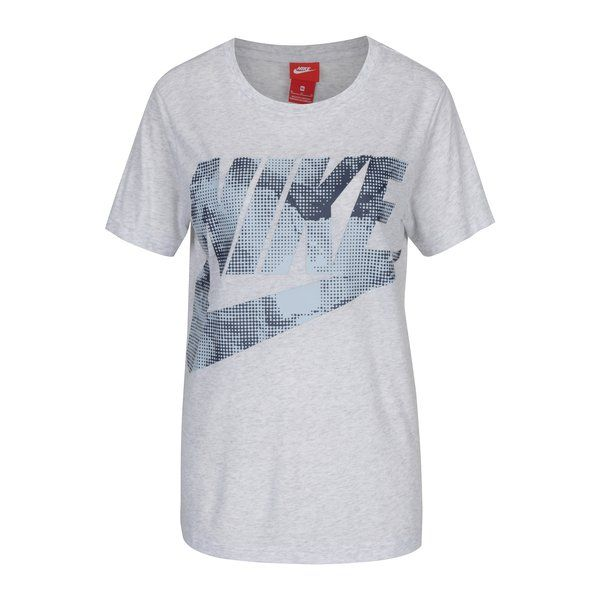 Tricou gri melanj cu logo pentru femei Nike Sportswear Glacier