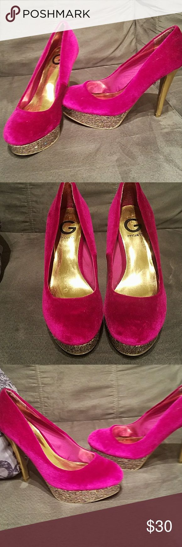 High hells Velvet pink high heels with gold stilettos and sparkles around the edge Guess Shoes Heels