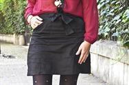 Falda tubo tiro alto con lazo de Saten Ramona