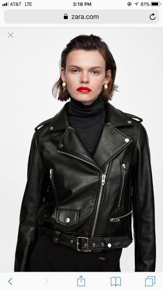 Details about Perfecto Veste en cuir Zara Style Hot Quality PU Leather Black Jacket size S