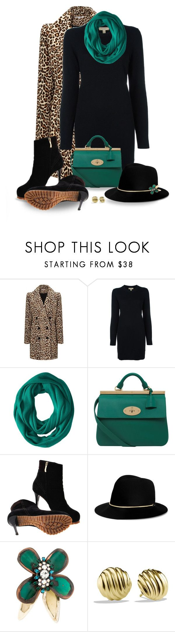 """""""Leopard Coat"""" by snickersmother ❤ liked on Polyvore featuring Carven, Burberry, Calvin Klein, Mulberry, Gianmarco Lorenzi, Janessa Leone, Marni and David Yurman"""