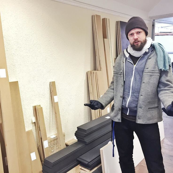 Lars celebrating the wood for building our booth for #musikmesse