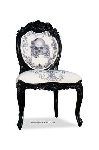 Meet the Mara chair, the perfect mix of Goth and Gorg! Mara's intricate carved detail and skull-designed fabric make it a one of kind chair with a punch of personality.