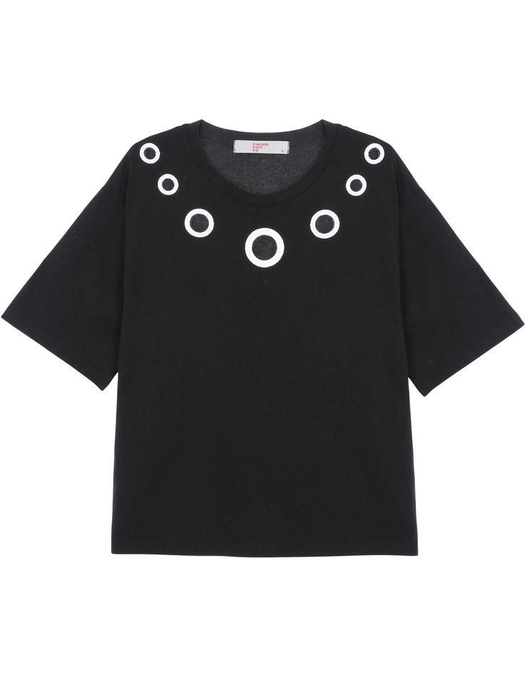 펀칭 디테일 라운드넥 반팔 티셔츠