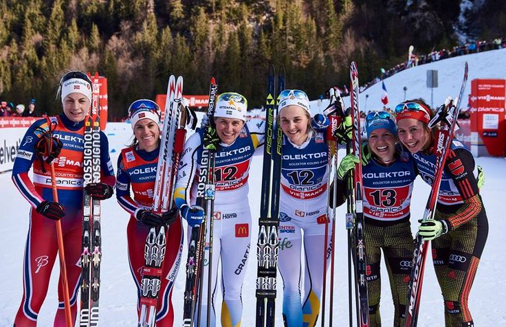 17.01.2016, Planica, Slovenia (SLO):Astrid Uhrenholdt Jacobsen (NOR), Heidi Weng (NOR), Ida Ingemarsdotter (SWE), Stina Nilsson (SWE), Sandra Ringwald (GER), Hanna Kolb (GER), (l-r) -