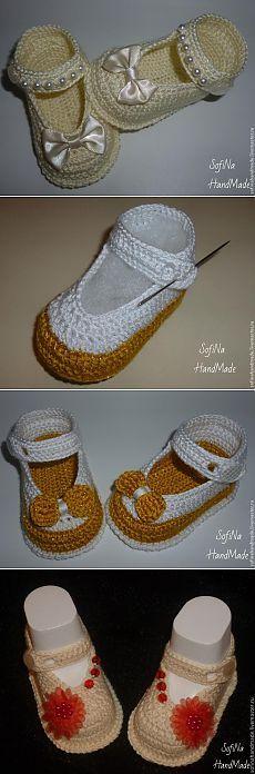 Пинетки-туфельки, вязаные крючком - Рукоделие