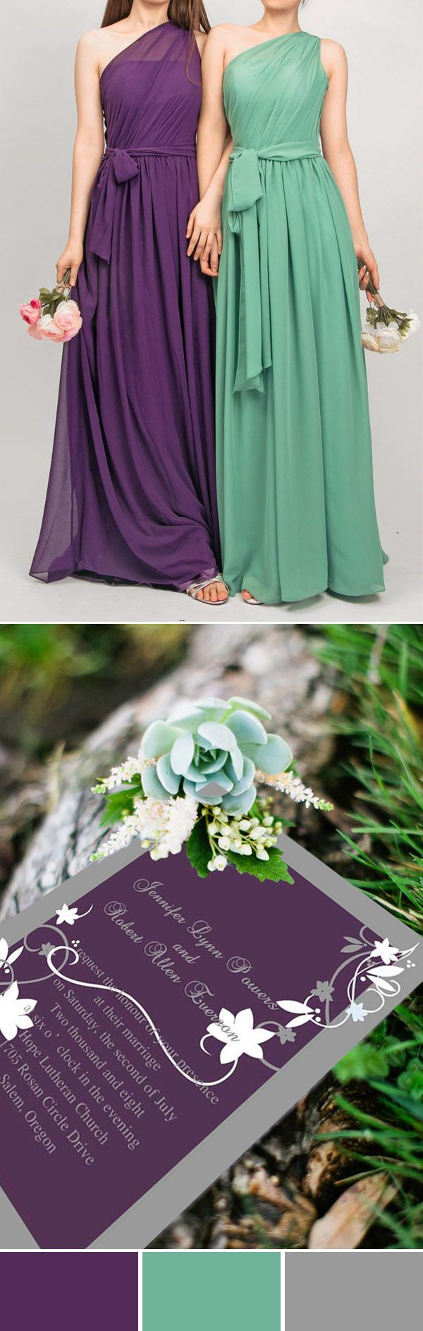 purple and mint green wedding colors, invitation and bridesmaid dresses