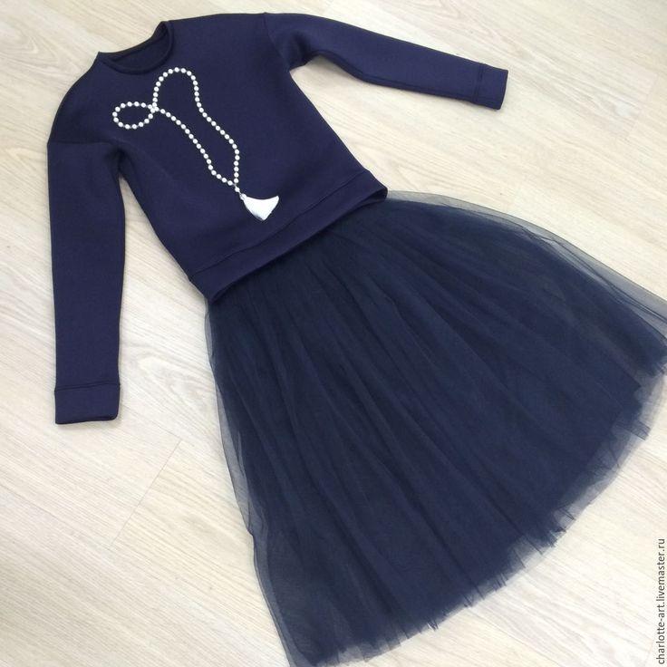 Купить Юбка из фатина - тёмно-синий, свитшот, неопрен, топ, юбка, фатин, фатиновая юбка