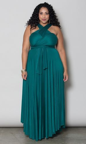 Curvalicious Clothes::Plus Size Dresses::Eternity Maxi Convertible Dress - Forest Green #PlusSize #Curvy #Fashion