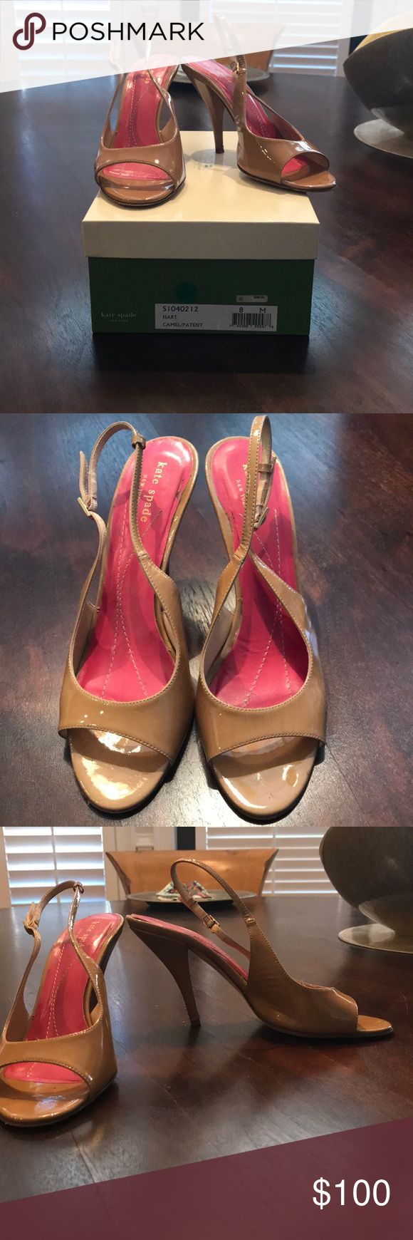 Kate Spade patent Hart Heels in Camel Gently worn Kate Spade patent hart strappy heels in camel/ nude. The heels show wear but could easily be fixed. A very classic style! Comes with original box kate spade Shoes Heels