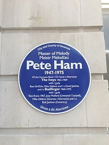 Pete Ham Blue Plaque.  Keyboardist and guitarist, leader of Badfinger Died age: 27 years, 362 days. cremated
