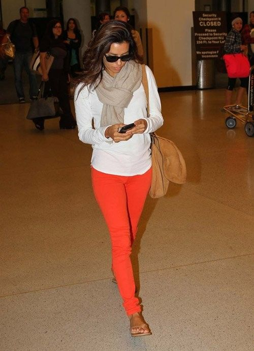 : Coral Pants, Color Combos, Orange Pants, White Shirts, Travel Outfit, Color Jeans, Color Pants, Bright Pants, White Tops