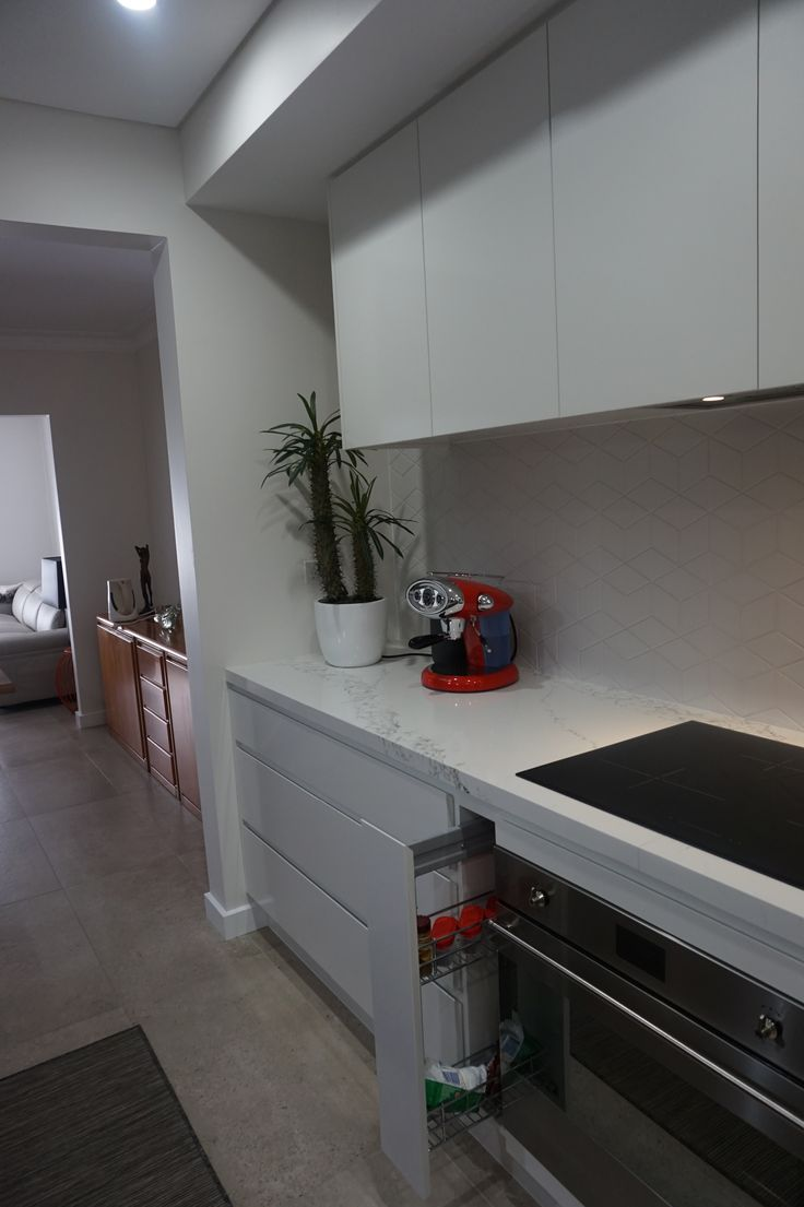 Polyurethane finish, gripless handles, 40mm stone bench top, tile splash back, concealed range hood pull out for oils, spices, etc induction cook top