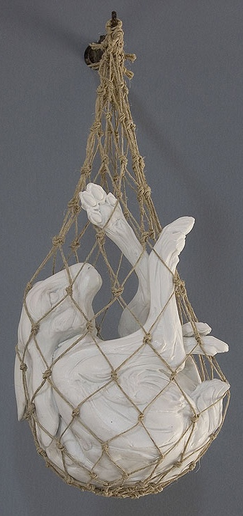 By Beth Cavener Stichter  caught  trapped white rabbit  art  sculpture