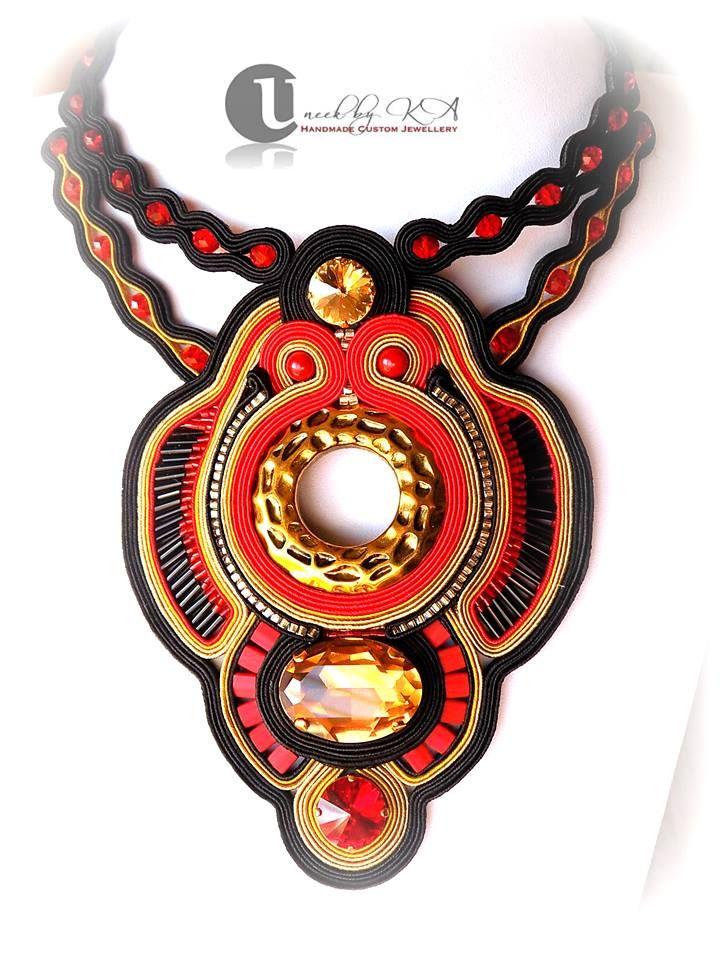 Soutache Necklace - gold/red/black