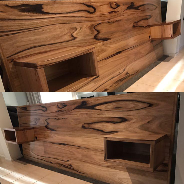Oak hardwood bed head with floating bedsides