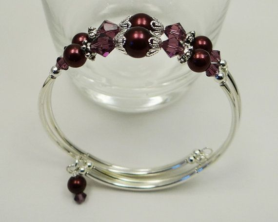 Beaded, Customizable, Amethyst/Burgandy Swarovski Crystal and Glass Pearl Memory Wire Bracelet