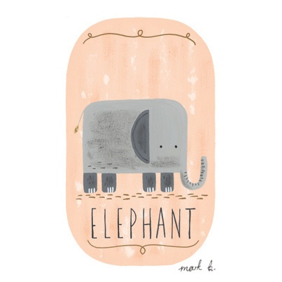 Elephant - 6x4 print in pink, peach, cream, green, teal, blue or purple