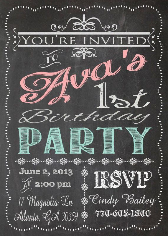 Shabby Chic Vintage Chalkboard Sign Invitation Birthday
