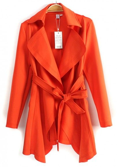 I love this color and style! Perfect bright color for Spring! Tangerine Orange Belted Peak Lapel Cotton Blend Trench Coat