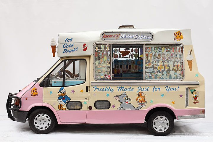 Credit: Luke Stephenson These are not cute vintage vans, dispensing cones of rose sorbet and salt caramel to middle-class festival-goers. They are Transits, plastered with Disney cartoons in varying states of fadedness, trawling the streets selling 99 Flakes.