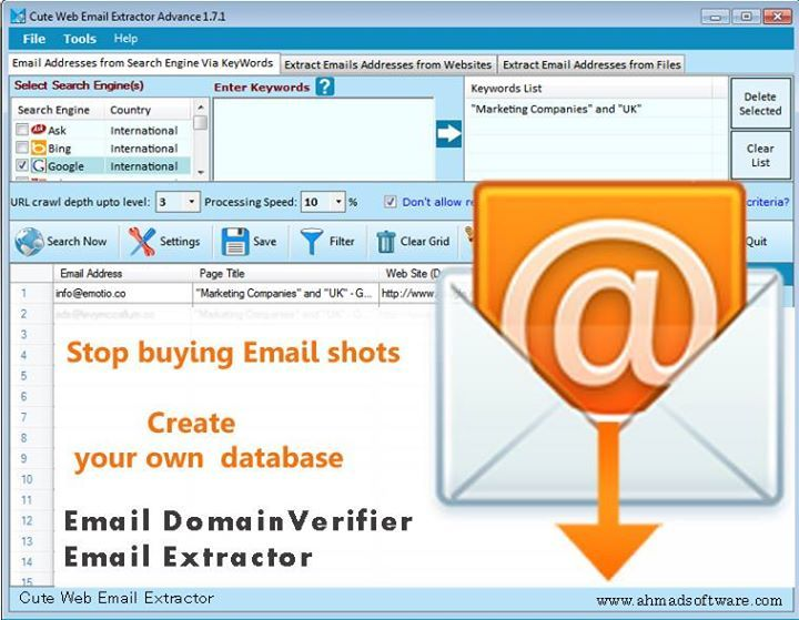 Cute Web Email Extractor is the most trusted, fast and result-oriented email address extractor software for internet #EmailMarketing, #mailingListManagement, site promotion, and research. It extracts email addresses from search engines(i.e. Bing, Google, Yahoo, Ask, Yandex, etc), targeted websites and local files on the computer.  #EmailWebExtractor,#EmailAddressExtractor,  #AdvanceExtractor, #EmailGraber, #EmailRipper #EmailScrape, #LeadGeneration #DigitalMarketing #MarketingTools