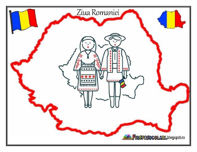 HARTA ROMANIEI - 1 Decembrie - COPII in Costume TRADITIONALE   Fise de lucru - gradinita