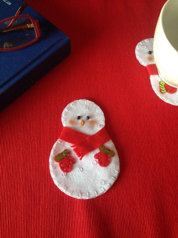 Pupazzo di neve di feltro coaster feltro coaster di LaTanaDiOtto
