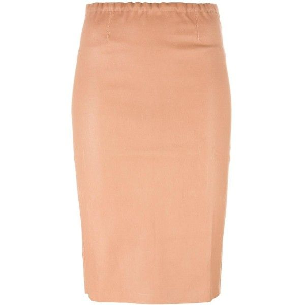 Stouls Gilda pencil skirt ($1,245) ❤ liked on Polyvore featuring skirts, nude, beige skirt, beige pencil skirt, stouls, red skirt and red pencil skirt