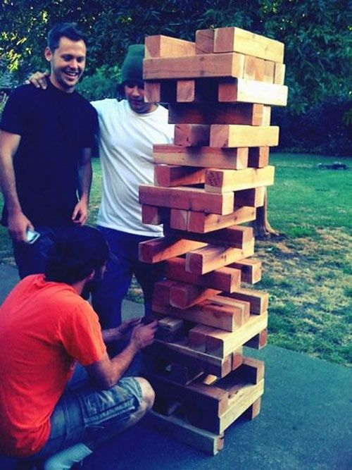 DIY instructions for making outdoors Jenga, Scrabble, Twister