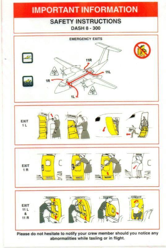 QANTAS DASH 8-300 EXITS 11R & 11L SAFETY CARD