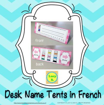 $French - Desk Name Tents - Numbers, Alphabet, Colours, Right/Left - such a fun way to welcome your new students!
