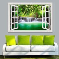 3D Window View Nature Waterfall Green Wall Sticker Vinyl Decal Wallpaper