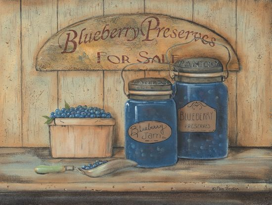 Superb Kitchen   Blueberry Preserves   Primitive Country Framed Wall Art ..
