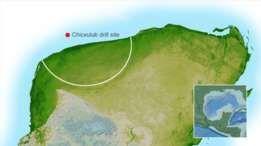 O círculo externo (linha em branco na imagem) da cratera fica sob a península de Yucatán, mas o anel de pico interno (ponto vermelho) pode ser acessado pelo mar