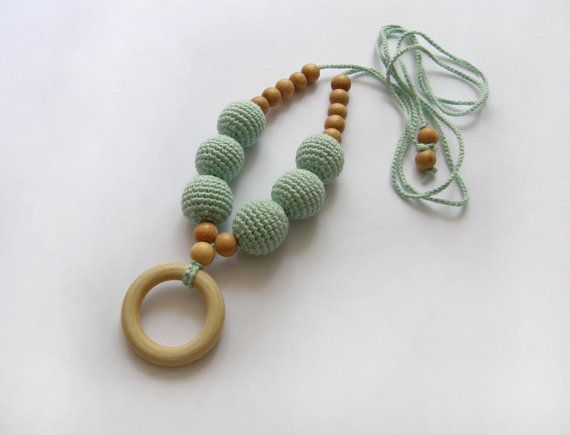 Mint nursing wooden ring necklace - Crochet Teething necklace - Breastfeeding Necklace  - For Babywearing Moms - Teething toy - Teether