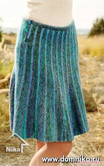 Расклешеная юбка укорочеными рядами