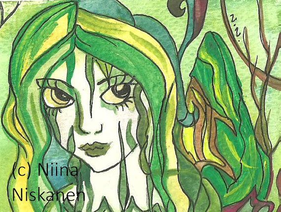 Spirit of the jungle Original ACEO Painting Fantasy ACEO Art Original Illustration Fantasy Painting Detailed Miniature Art by Niina Niskanen