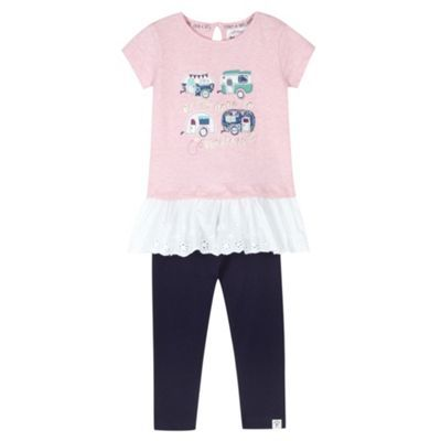 Mantaray Girl's pink applique caravans t-shirt and leggings set- at Debenhams.com