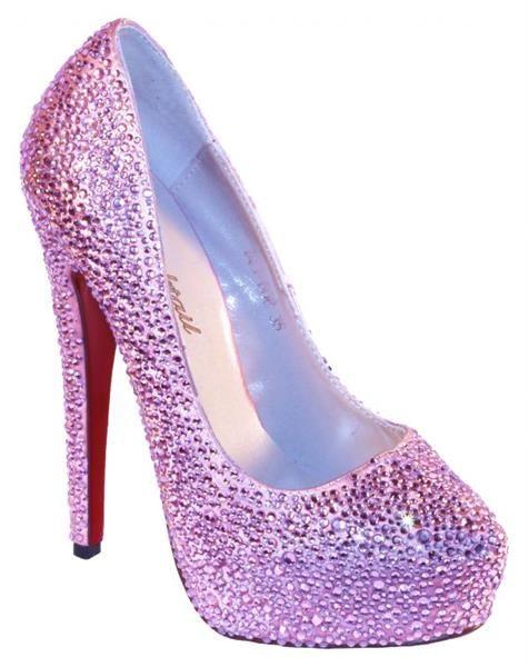 Розовые туфли со стразами фото