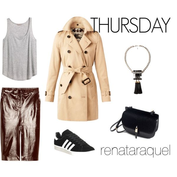 Thursday by renatabarroso on Polyvore featuring H&M, Burberry, adidas, Zara and MANGO
