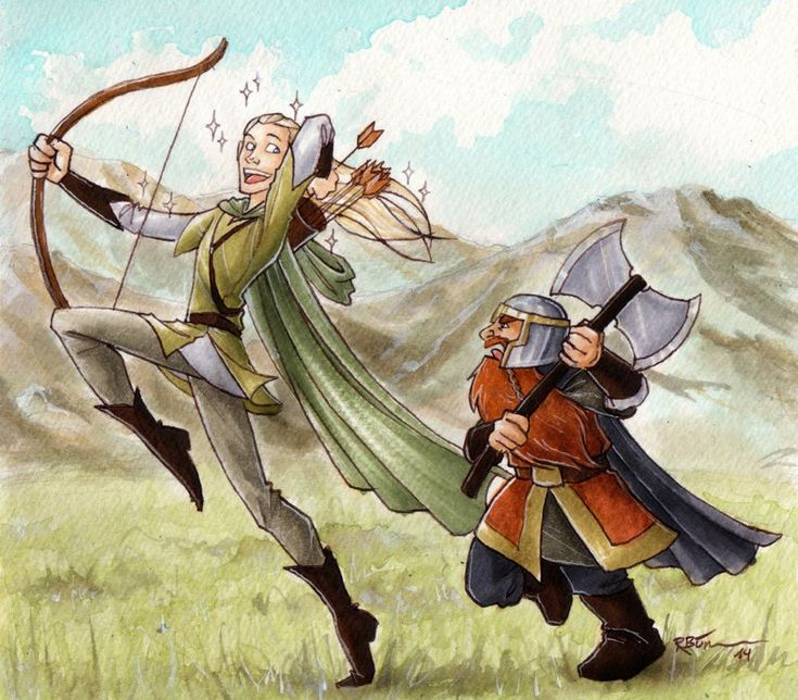 Legolas and Gimli by CaptBexx. This sums up elf and dwarf relationships pretty well lol! xD
