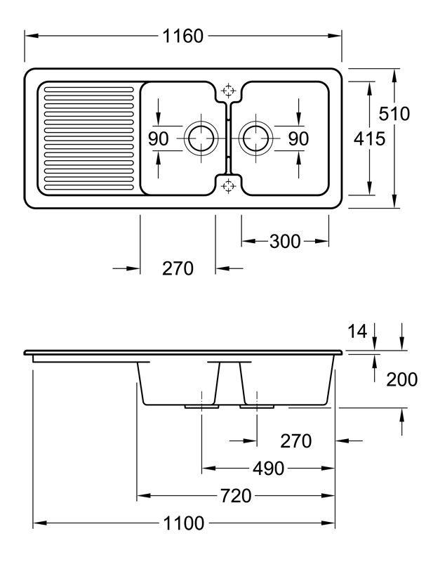 villeroy boch condor 80 keramiksp le f r 80 cm unterschrank nordsee k chen kitchens. Black Bedroom Furniture Sets. Home Design Ideas