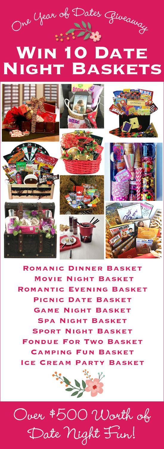 10 Date Night Themed Picnic Baskets Giveaway! You'll win 10 date night baskets, one a month through the end of 2015. This is the perfect way to spend quality time with your spouse and such a fin giveaway for Valentine's Day! You'll thank me! :)