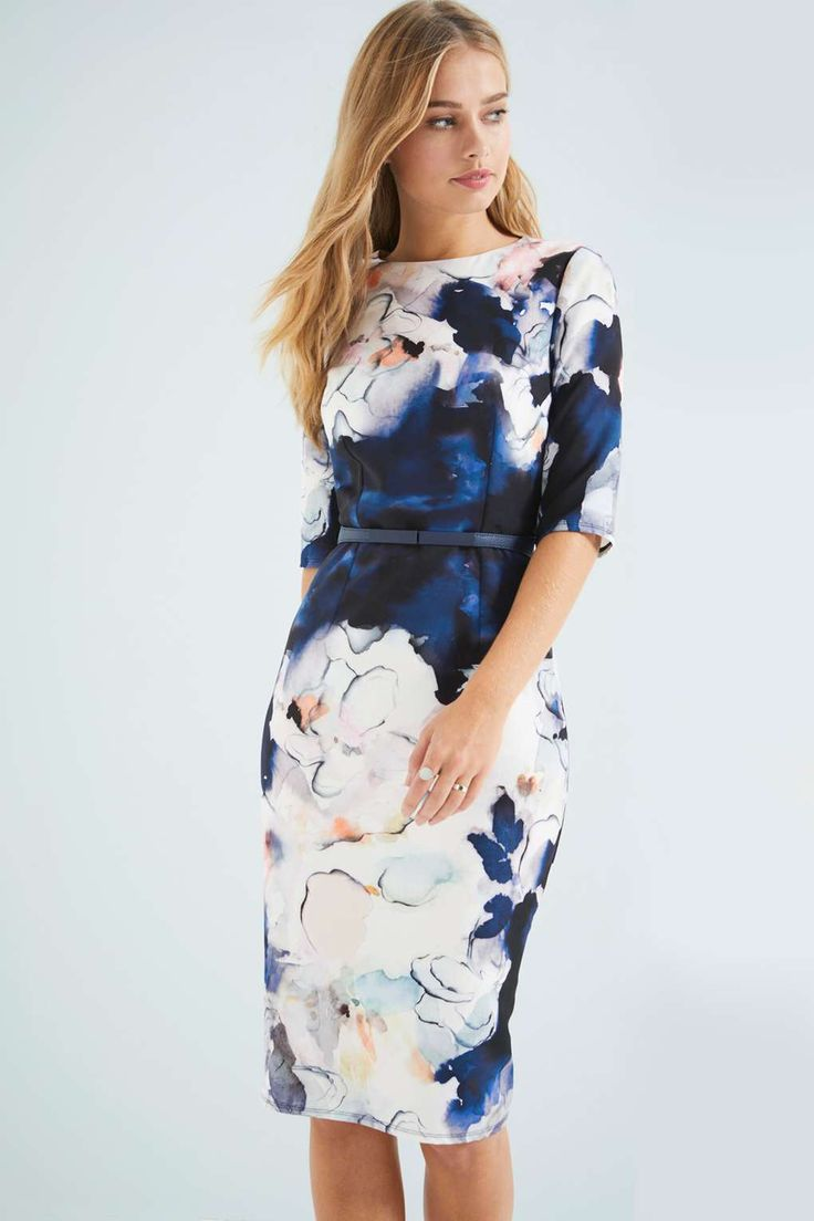 **Little Mistress Navy Floral Fitted Dress - View All Dresses - Dresses -  Wallis