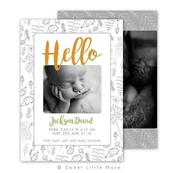 This adorable woodland birth announcement card template is perfect for clients or personal use! Add on to your packages or give as a gift to your clients! ** Sign up for our email list and get a 10% coupon mailed to you immediately!! Subscribe here: http://eepurl.com/NG6Rj ** - 5x7
