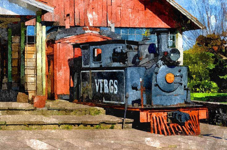 Trem e Estação Histórica de Canela - RS. Tratamento de foto como Pintura a Aquarela.